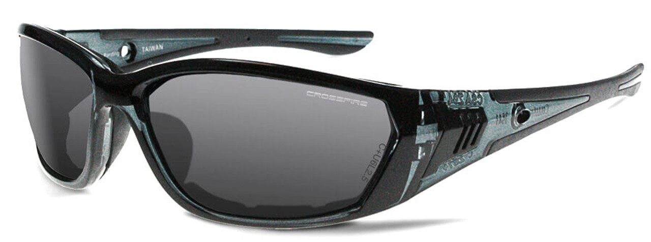 1e8addd813 Crossfire 710 Foam Lined Safety Glasses with Crystal Black Frame and Smoke  Anti-Fog Lens