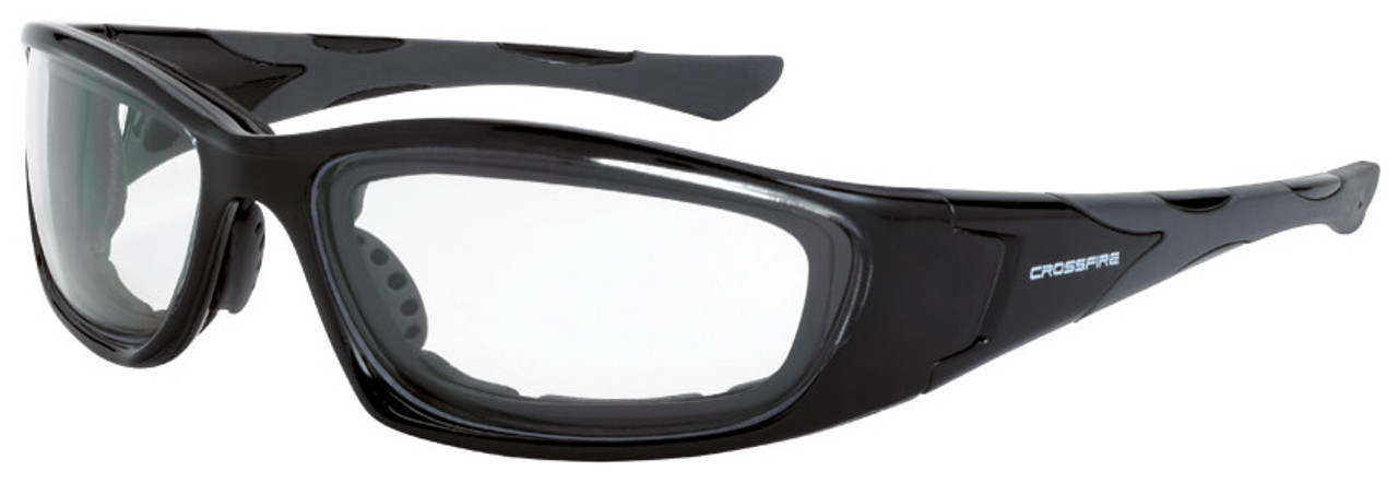 02368d33bd Crossfire MP7 Foam Lined Safety Glasses with Crystal Black Frame and Clear  Anti-Fog Lens