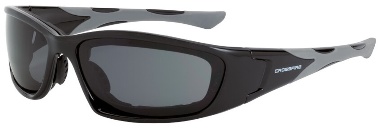 e22ec889ad Crossfire MP7 Foam Lined Safety Glasses with Shiny Black Frame and Dark  Smoke Anti-Fog