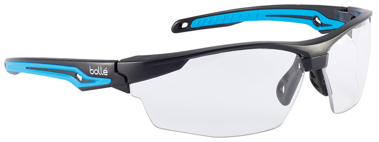 ceb1f64edf6a Bolle Tryon Safety Glasses with Black   Blue Frame and Clear Platinum Anti-Fog  Lens