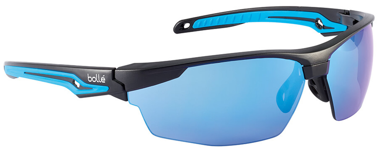 Bolle Solis Safety Glasses with Black Frame and Blue Mirror Lens ANSI Z87