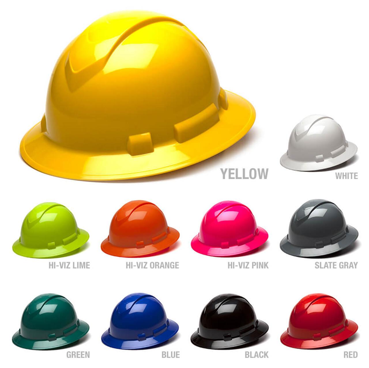 Pyramex Ridgeline Full Brim Hard Hat Hi-Vis Lime 4-Point Ratchet Suspension
