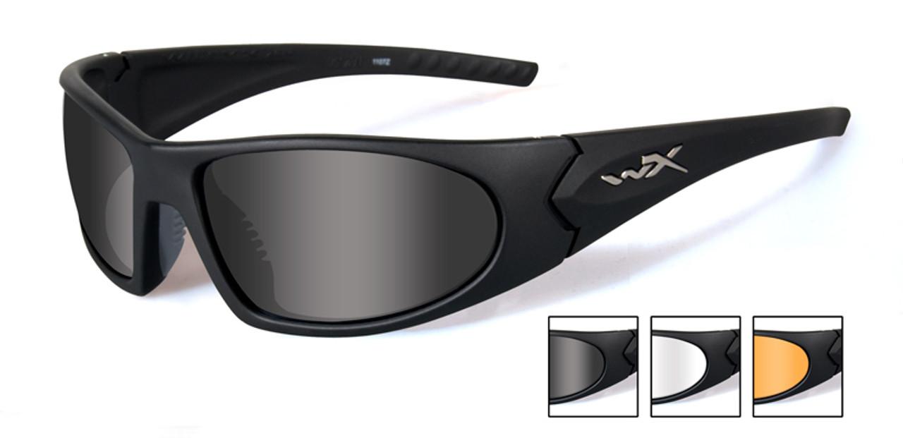 WX VALOR Matte Black Sunglasses with Smoke Grey//Clear//Light Rust Lens Set,