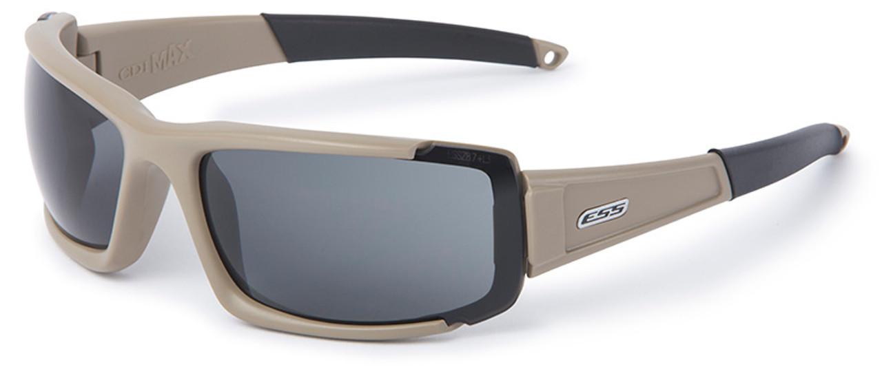 d12e479f87 ESS CDI Max Ballistic Sunglasses with Terrain Tan Frame and Clear and Smoke  Lenses