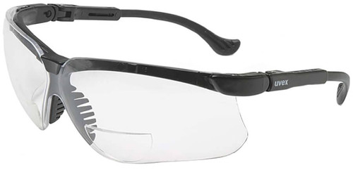 Uvex Genesis Bifocal Safety Glasses with Black Frame and Clear Ultra-Dura Lens