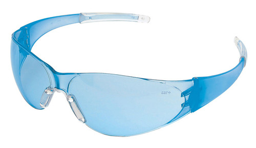 Crews Checkmate 2 Safety Glasses with Blue Temples and Light Blue Lens