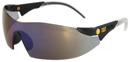 CAT Dozer Safety Glasses with Black Frame and Blue Mirror Lens