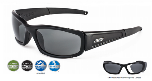 10746562ef ... ESS CDI Ballistic Sunglasses with Black Frame and Clear and Smoke  Lenses ...