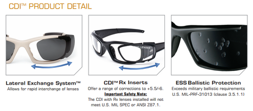 6d6d897331 ... ESS CDI Ballistic Sunglasses with Black Frame and Clear and Smoke Lenses