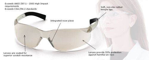 58feea638e ... Pyramex Mini Ztek Safety Glasses with Clear Lens Key Features