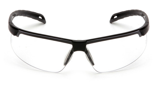 aa4d47c5b886 ... Pyramex Ever-Lite Safety Glasses with Black Frame and Clear Lenses -  Front View ...