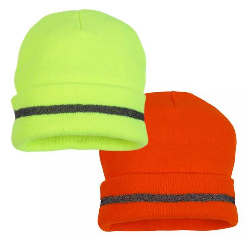 Pyramex Lumen-X Hi-Viz Knit Cap with Reflective Stripe