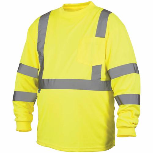 Pyramex Lumen-X RLTS31 Class 3 Hi-Viz Lime Long Sleeve Safety T-Shirt