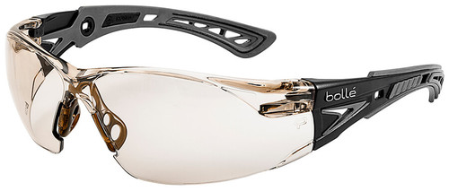 Bolle Rush Plus Safety Glasses with Black/Gray Temples and CSP Indoor/Outdoor Platinum Anti-Fog Lens
