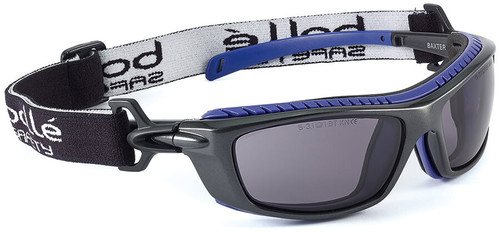 Bolle Baxter Safety Glasses with Black Frame, Strap and Smoke Platinum Anti-Fog Lens