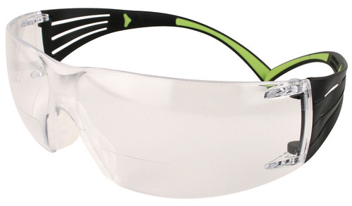 3M SecureFit Bifocal Safety Glasses with Black/Lime Temples and Clear Anti-Fog Lens