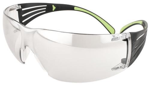 3M SecureFit Safety Glasses with Black/Lime Temples and Clear Anti-Fog Lens