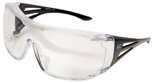 Edge Ossa OTG Safety Glasses with Black Temples and Clear Lens