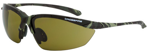 Crossfire Sniper Safety Glasses with Military Green Camo Frame and HD Green Lens