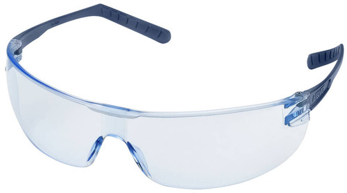 Elvex Helium 15 Ultralight Safety Glasses with Blue Lens and Metal Detectable Temples