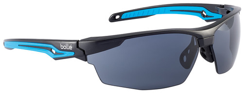 Bolle Tryon Safety Glasses with Black & Blue Frame and Smoke Platinum Anti-Fog Lens