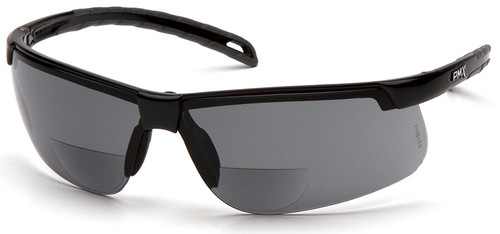 Pyramex Ever-Lite Bifocal Safety Glasses with Black Frame and Gray Lens