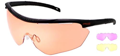Randolph Phantom 2.0 Shooting Glasses with Black Frame and HD Medium, Dark Purple and Medium Yellow Lenses