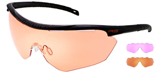 Randolph Phantom 2.0 Shooting Glasses with Black Frame and HD Medium, Dark Purple and Modified Brown Lenses