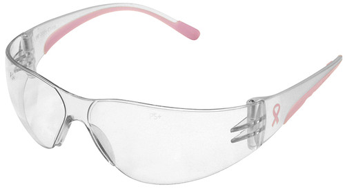 Bouton Eva Petite Women's Safety Glasses with Pink Temple Trim and Clear Hard Coat Lens