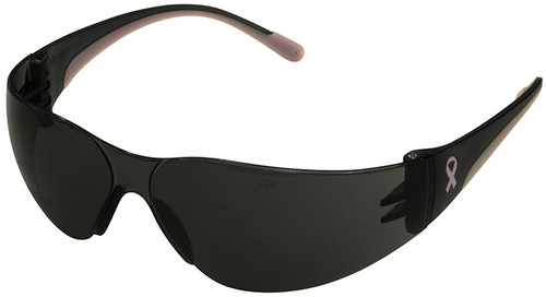 Bouton Eva Petite Women's Safety Glasses with Pink Temple Trim and Gray Lens