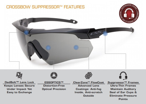 c30104a3df4e8 ESS Crossbow Suppressor Safety Glasses 2X Kit Black Frames Clear ...