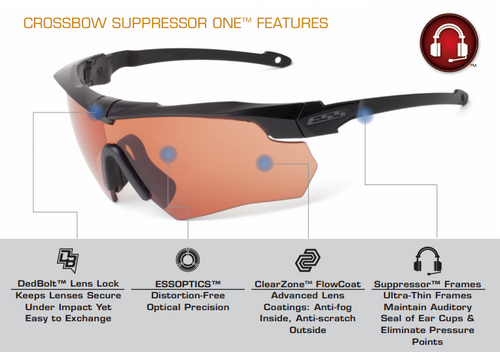 636a0676be2 ESS Crossbow Suppressor Safety Glasses with Black Frame and HD Copper Lens  ESS  Crossbow Suppressor Eyeshield Key Features ...