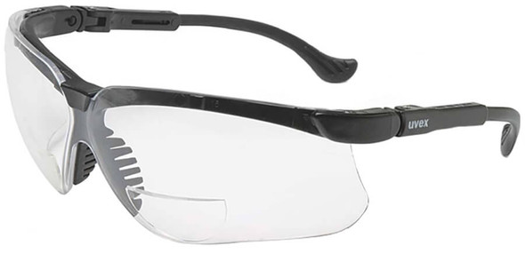 Uvex Genesis Readers Safety Glasses Black Frame Clear Ultra-Dura Lens