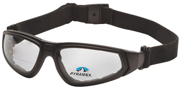 Pyramex XSG Bifocal Safety Goggle with Black Frame and Clear Anti-Fog Lens - With Strap