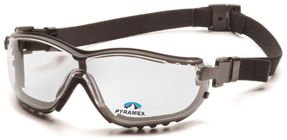 Pyramex V2G Bifocal Safety Glasses/Goggles with Black Frame and Clear Lens