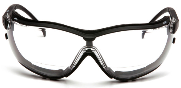 Pyramex V2G Bifocal Safety Glasses/Goggles with Black Frame and Clear Lens - Front
