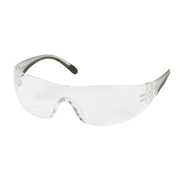 Bouton Zenon Z12R Bifocal Safety Glasses with Black Temple Trim and Clear Lens Front View