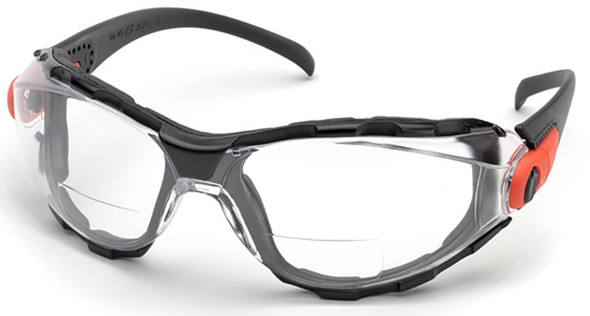 Elvex Go-Specs Bifocal Safety Glasses with Black Frame, Foam Seal and Clear Anti-Fog Lens