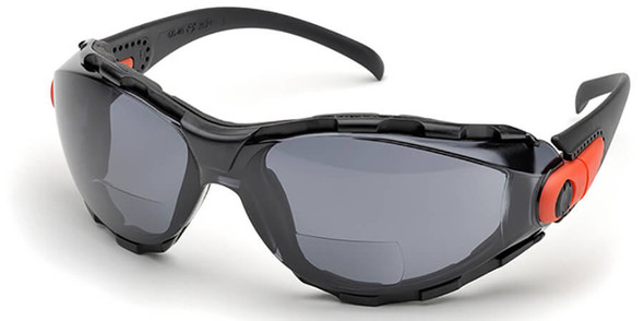Elvex Go-Specs Bifocal Safety Glasses with Black Frame, Foam Seal and Gray Anti-Fog Lens