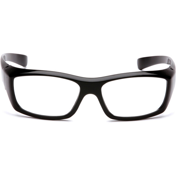 Pyramex Emerge Safety Glasses with Black Frame and Clear Full Magnifying Lens SB7910D Front View
