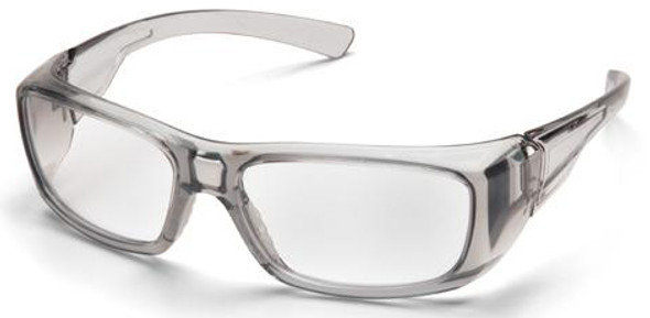 Pyramex Emerge Safety Glasses Translucent Gray Frame Clear Full Magnifying Lens