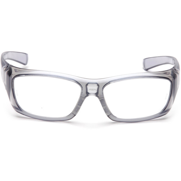 Pyramex Emerge Safety Glasses Translucent Gray Frame Clear Full Magnifying Lens Front