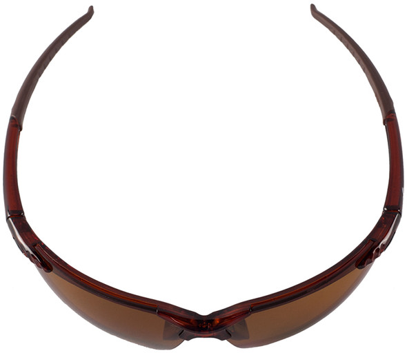 Bullhead Mojarra Safety Glasses with Crystal Brown Frame and Polarized Precision Brown Lens - Top