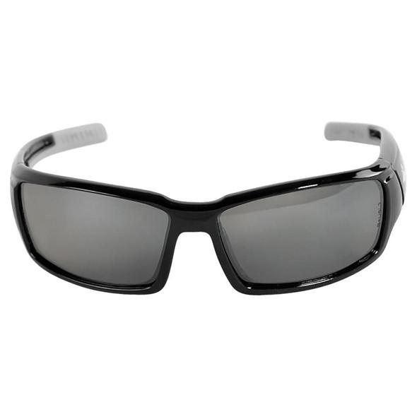 Bullhead Maki Safety Glasses Shiny Black Frame Polarized Silver Mirror Lens Front View