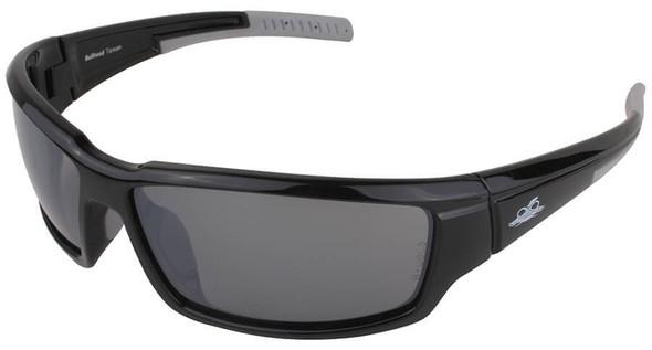 Bullhead Maki Safety Glasses with Shiny Black Frame and Polarized Silver Mirror Lens