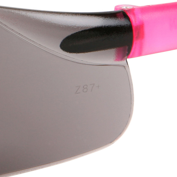 Crews Bearkat Small Safety Glasses with Pink Temples and Gray Lens BK222 Lens Marking