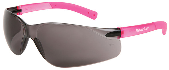 Crews Bearkat Small Safety Glasses with Pink Temples and Gray Lens
