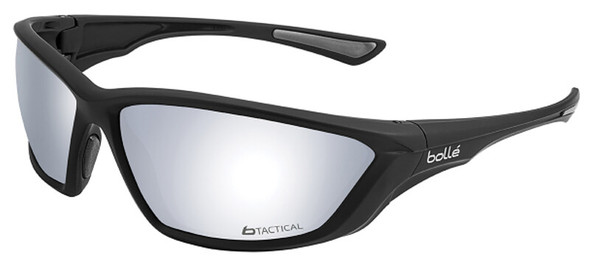 Bolle SWAT Tactical Safety Glasses with Shiny Black Frame and Silver Flash Anti-Fog Lens 40138