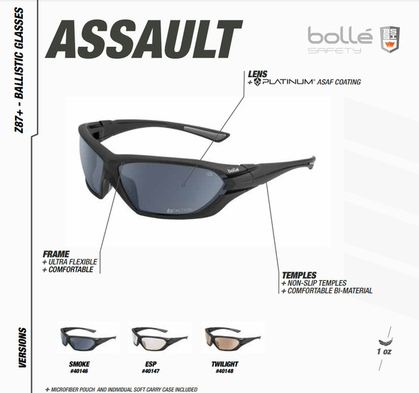 Bolle Assault Tactical Safety Glasses with Matte Black Frame and Twilight Anti-Fog Lens 40148 Features