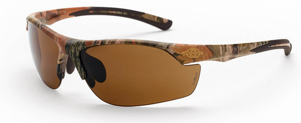 Crossfire AR3 Safety Glasses with Woodland Brown Camo and HD Brown Lens